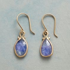 "TANZANITE OMEGA EARRINGS -- Tanzanite tantalizes within 14kt gold omega settings. Earrings handmade in USA by Jennifer Dawes. French wires. 1""L."