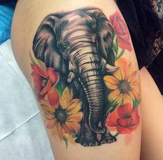 75 Big And Small Elephant Tattoo Ideas – Brighter Craft Elephant Thigh Tattoo, Elephant Tattoo Design, Elephant Tattoos, Animal Tattoos, Colorful Elephant Tattoo, Trendy Tattoos, Small Tattoos, Tattoos For Women, Cool Tattoos