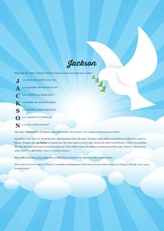 The #namemeaning of #Jackson using Bird of Peace from the project pack Nature. Unique #giftideas and #personalizedgifts for #babynames