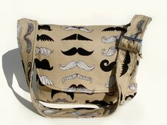 Mustache Messenger Bag /Crossbody Bag/  Laptop Bag/ Diaper Bag/ Book Bag/ Hipster  Man Bag. $40.00, via Etsy.