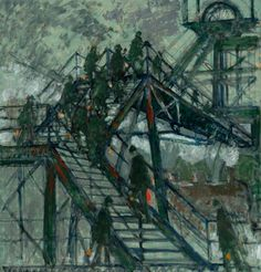 norman stansfield cornish(1919- ), pit gantry steps. oil on board, 94.5 x 89.5 cm collection: northumbria university gallery, uk http://www.bbc.co.uk/arts/yourpaintings/paintings/pit-gantry-steps-58034