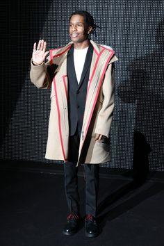 ASAP Rocky wearing  Dior FW16 Monk Strap Boots, Dior FW16 Stripe Trim Coat