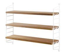 String Pocket  biały panel + dębowe półki