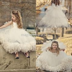 Cheap Pageant Dress - Discount Bow Feather Ankle Length Flower Girl Dresses Online with $77.14/Piece | DHgate
