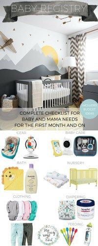 Baby registry checklist for everything mama and baby needs! Also includes a budg. Best Baby Registry, Baby Registry Must Haves, Baby Registry Checklist, Baby Bedroom, Baby Boy Rooms, Preppy Baby Boy, Boy Diaper Bags, Baby Gadgets, Baby Nursery Themes