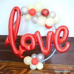 Love - Small balloon Hoop design Hanging Balloons, Small Balloons, Letter Balloons, Helium Balloons, Balloon Clouds, Love Balloon, Balloon Arch, Balloon Centerpieces, Balloon Decorations