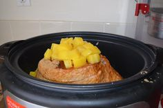 Made this yummy spiral ham for Easter Dinner. Had to cut the top of the ham to fit in crockpot so make sure you ask the butcher to do that first. Then put a layer of brown sugar (1 cup) in the bottom of crockpot. Put ham facedown and sprinkle 1/2 cup brown sugar on ham then dump pineapple juice and pineapple over ham. Cook on low 6 hours for a ham that is already cooked. Imagine yourself at a Hawaiian Luau and enjoy