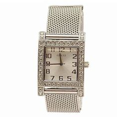 Women's Wrist Watches - GUESS Womens U0130L1 Enduring Chic Crystal Mesh SilverTone Watch ** Learn more by visiting the image link. (This is an Amazon affiliate link)