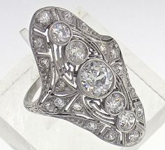 Edwardian Long Platinum 5 Stone Diamond Ring 2.10cts TW, Circa 1920