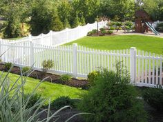 V352-4TR Scalloped Contemporary Vinyl Picket Fence with Dog Ear Caps, Thru-rail shown here in Illusions Classic Series White (C101)