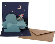 "POPUP-CARD-COLLECTION ""ABOVE THE CLOUDS"",  ""ROCKET"", ART.NR. W 08  A wonderfull dreamy Popup-Card made from 100% recycled paper in the size 13,5cm x 13,5cm.  On the back you can write on a big white cloud.  This Pop-up card is designed by Tina Kraus.  The cards are made in Germany!"