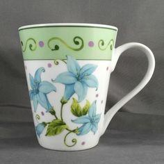 I. Godinger & Co. Coffee/Tea Mug - 12 oz -  White w/Blue Flowers Floral Cup #IGodinger #Spring