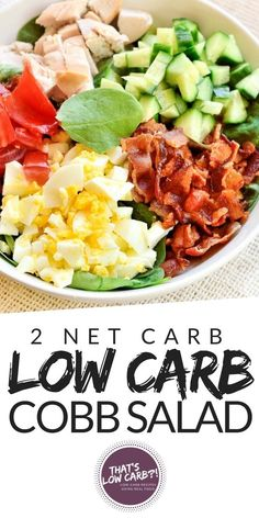 Low Carb and Keto Spinach Cobb Salad. Pull up a salad bowl and start filling it with lots of low carb veggies. This Keto Cobb Salad is packed with flavor and a homemade ranch dressing! via keto Low Carb Spinach Cobb Salad Low Carb Recipes, Diet Recipes, Healthy Recipes, Smoothie Recipes, Sausage Recipes, Healthy Low Carb Meals, Health Salad Recipes, Keto Veggie Recipes, Low Carb Diets