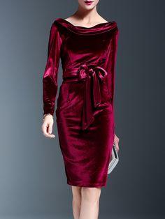 Shop Midi Dresses - Solid Velvet Crew Neck Elegant Long Sleeve Midi Dress online. Discover unique designers fashion at StyleWe.com.