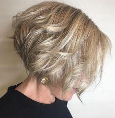 Stacked Blonde Bob For Fine Hair Bob Haircuts For Women, Short Bob Haircuts, Modern Haircuts, Short Hairstyles For Women, Layered Haircuts, Bob Hairstyles For Fine Hair, Hairstyles Over 50, Hairstyles Haircuts, Medium Hairstyles