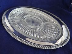 Vintage Large Oval Silverplate Divided Serving Tray - Elegant Serving Piece - Oval Glass Silverplate Serving Tray - Elegant Dining Table by SecondWindShop on Etsy