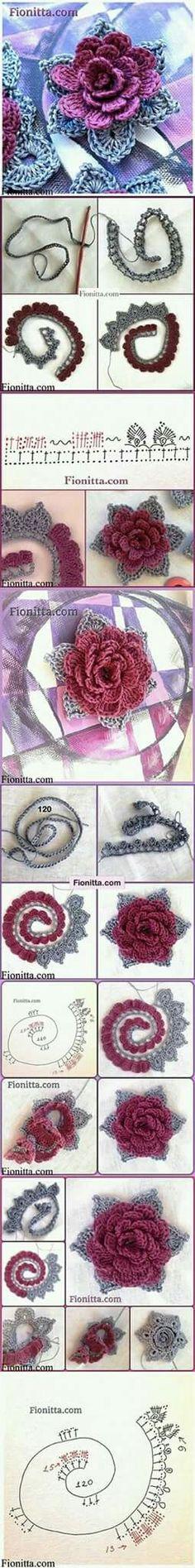 Crochet flower, bloem roos haken, patern, patroon