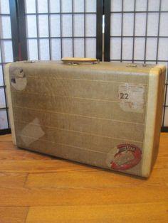 Vintage 1930s 1940s Suitcase Brown Beige Hard Luggage by girlgal6, $90.00