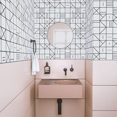 The sweetest pink powder room we ever did see! Shown here is our Indian Chief© wallpaper in Black + White, click link to shop! #homedecor…