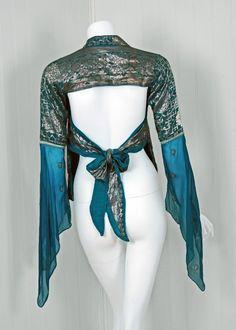 1970's Thea Porter Metallic Threaded Blue Backless Blouse