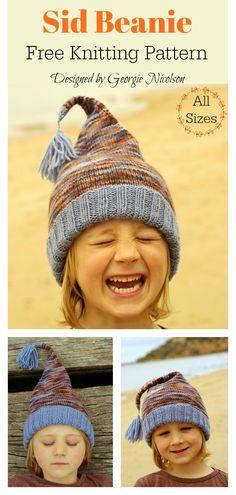 Sid Beanie Free Knitting Pattern - Knitting For Kids Baby Knitting Patterns, Christmas Knitting Patterns, Sewing Patterns For Kids, Knitting For Kids, Easy Knitting, Loom Knitting, Knitting Designs, Crochet Patterns, Hat Patterns