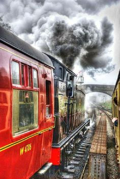 North Yorkshire Moors Railway, UK I pinned this post, because I've always love trains and most all types of locomotive. By Train, Train Tracks, Train Art, North Yorkshire, Old Trains, Photos Voyages, Belle Photo, Color Splash, Places To See