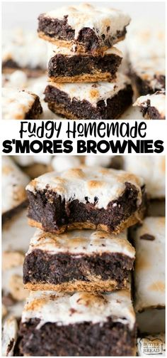 S'MORES BROWNIES S'mores Brownies are a fun twist on the classic brownie recipe. Graham Crackers topped with fudgey homemade brownies and toasted marshmallows! Two favorites combine in this delicious brownie recipe! from BUTTER WITH A SIDE OF BREAD Marshmallow Brownies, Smores Brownies, Homemade Brownies, Best Brownies, S Mores Bars, Lemon Brownies, Marshmallow Cream, Chocolate Brownies, Chocolate Chips
