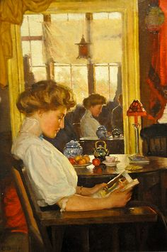 Harold Dunbar - Portrait: Lady in Mirror, 1909 at the Virginia Museum of Fine Arts (VMFA) Richmond VA Reading Art, Woman Reading, Reading Books, Louis Aragon, Wood Painting Art, Blue Pictures, World Of Books, Mirror Image, Mirror Mirror