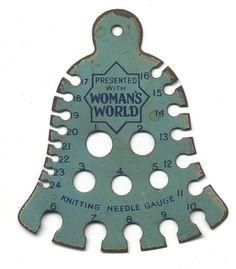 Woman's World Knitting Needle Gauge. @Vintage Knitting