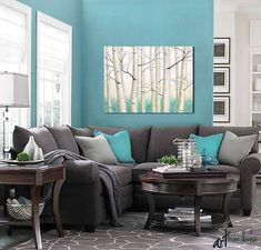 Canvas print of landscape painting by Denise Cunniff featuring winter birch trees. This wall art is designed to enhance your bedroom, dining room, home and office decor. Colors include shades of aqua, teal, turquoise, yellow, grey, and white. This artwork is also available in a two