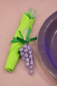 Grape Cutlery- so cute perfect for Wine party or Kids fruit party!  Love how it incorporates a favor.