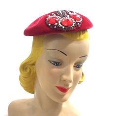 Luxe Red Velvet Bejeweled and Beaded Cocktail Hat circa 1950s - Dorothea's Closet Vintage