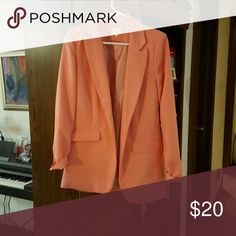 Cherish brand pink blazer Self and lining and both 100% polyester, front pockets are not real. cherish Jackets & Coats Blazers