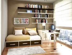 Small Room Storage Ideas Bring Maximum Function in Small Interior: Elegant Small Bedroom Wall Book Shelving Small Room Storage Ideas ~ masbas.com Interior Designs Inspiration