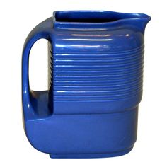 USA. Hall China Co. for Westinghouse. Vivid blue molded porcelain machine age pitcher. ca1950s. h8w8d5