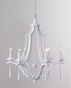 Glossy white painted chandelier from Horchow