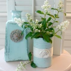 Turn your recyclables into shabby decor for your home.