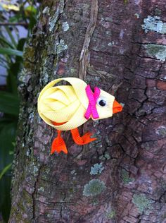 Easter Spring Chick Ribbon Sculpture Hair Clip