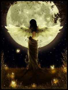 Image shared by Find images and videos about moon, angel and fantasy on We Heart It - the app to get lost in what you love. Angels Among Us, Angels And Demons, Male Angels, Fantasy Kunst, Fantasy Art, Fantasy Women, Stars Night, I Believe In Angels, Ange Demon