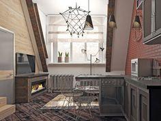 проект лофт  квартиры однокомнатной стиле в студии