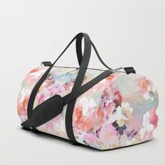 Vintage Romantic Blush Pink Teal Bohemian Roses Floral Travel/duffle Bag by Pink Water - SMALL - x Duffle Bag Travel, Travel Bags, Duffle Bags, Pink Turquoise, Teal, Coral Watercolor, Rose Family, Pink Brown, Tote Purse
