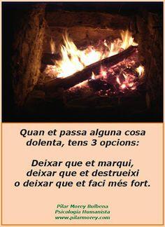 Quan et passa alguna cosa dolenta tens tres opcions: Deixar que et marqui, deixar que et destrueixi o deixar que et faci més fort.  www.pilarmorey.com