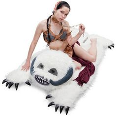 Star Wars Wampa Rug      Capture Your Own Hoth Snow Beast    Before Luke was preserved inside a dead tauntaun he had a fight with a hideous Wampa snow beast in the mountain caves of Hoth. Now you can catch your own Wampa and take him home to decorate your swank bachelor pad.