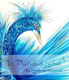 Original Peacock Painting, Peacock Wall Art, Peacock Decor, Blue Painting, Bird Art, Wildlife Art, Peacock Decor, FREE SHIPPING