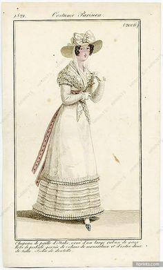 Le Journal des Dames et des Modes 1821 Costume Parisien N°2006