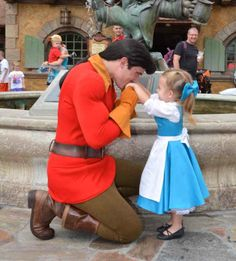 MyDisneyDaze ~ So cute. This Gaston is always so sweet to the little girls! And can we just take a moment to acknowledge Lane's shoes? They're adorable.