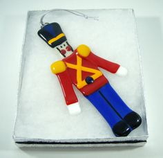 Fused Glass Christmas Ornament  Toy Soldier by lazydogarts on Etsy, $22.95