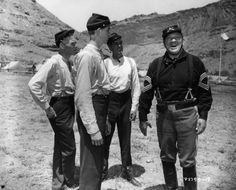 RIO GRANDE (1950) - Drill sergeant (Victor McLaglen) has a laugh with new cavalry recruits (Harry Carey Jr. - Claude Jarman Jr - Ben Johnson) - Directed by John Ford - Republic - Publicity Still.