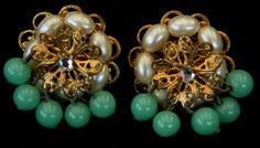 30 OFF Vintage 1950s Faux Pearl Faux Jade Crystal by Lauriechacha, $20.00