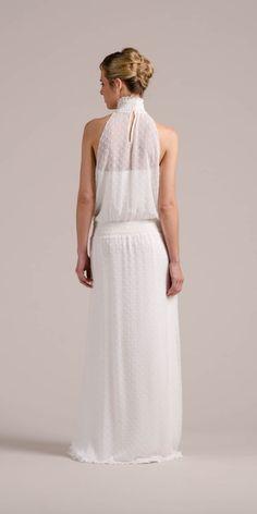 Von hinten machst du in unserem New Boho Brautkleid Daphne auch eine super Figur!